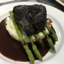 steak, asparagus, mashed potato, sauce
